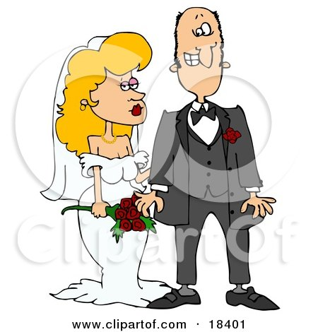 Clipart Illustration of a Blond White Bride In Her Wedding Dress, Standing By The Groom by djart
