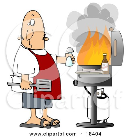 Clipart Illustration of a Confused White Man Holding A Salt Shaker And Watching As The Flames Get High On His Bbq Grill by djart