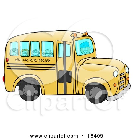 Friendly Bus Driver Driving Happy School Children To School On A Yellow School Bus Posters, Art Prints