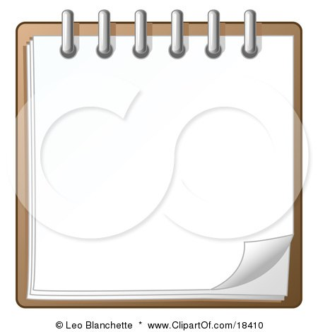 Clipart Illustration of a Blank Page of a Spiral Notebook by Leo Blanchette