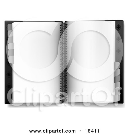 Clipart Illustration of a Blank Page In An Open Spiral Daily Organizer With Tabs by Leo Blanchette