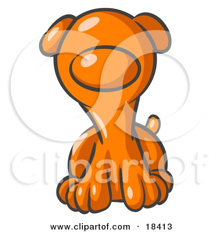 Clipart Illustration of a Cute Orange Puppy Dog Looking Curiously at the Viewer by Leo Blanchette