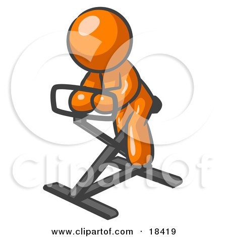 Clipart Illustration of an Orange Man Exercising On A Stationary Bicycle by Leo Blanchette