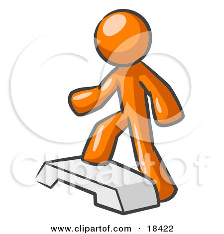 Orange Man Doing Step Ups On An Aerobics Platform While Exercising Posters, Art Prints