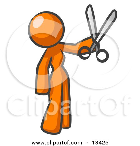 Clipart Illustration of an Orange Woman Standing And Holing Up A Pair Of Scissors by Leo Blanchette