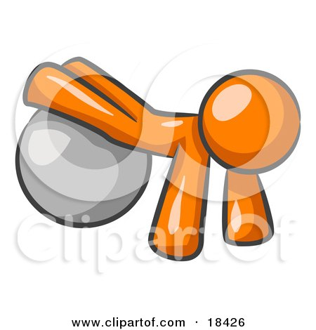 Clipart Illustration of an Orange Man Strength Training His Arms And Legs While Using A Yoga Exercise Ball by Leo Blanchette