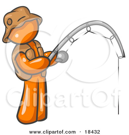 Orange Man Wearing A Hat And Vest And Holding A Fishing Pole Posters, Art Prints