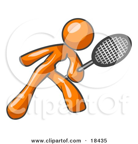 Clipart Illustration of an Orange Woman Preparing To Hit A Tennis Ball With A Racquet by Leo Blanchette