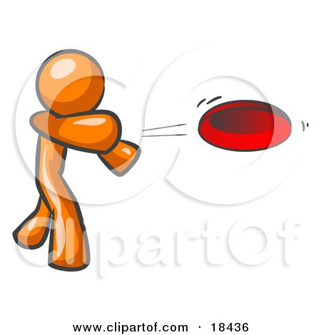 Clipart Illustration of an Orange Man Tossing A Red Flying Disc Through The Air For Someone To Catch by Leo Blanchette