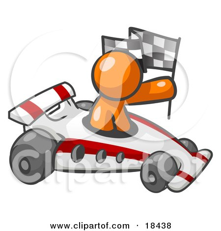 Clipart Illustration of an Orange Man Driving A Fast Race Car Past Flags While Racing by Leo Blanchette
