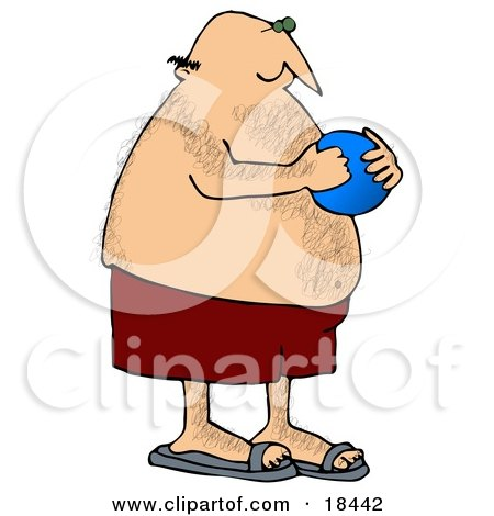 Clipart Illustration of a Hairy, Chubby White Man In Red Swimming Trunks, Holding A Blue Ball And Playing At The Beach by djart