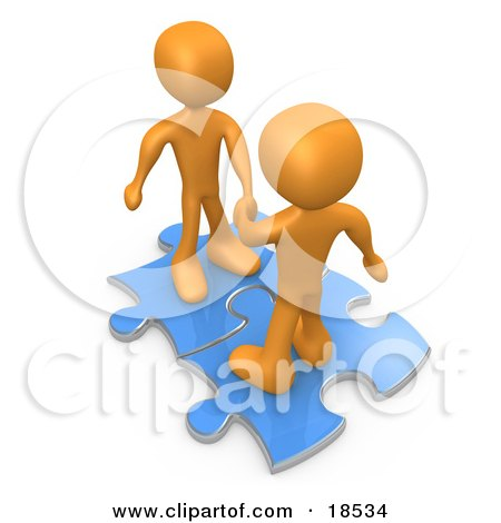 Clipart Illustration of Two Orange People On Blue Puzzle Pieces, Engaging In A Handshake Upon A Deal, Symbolizing Link Exchange And Teamwork by 3poD