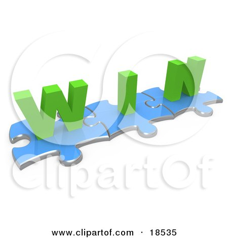 Three Connected Blue Puzzle Pieces With The Word Win In Green Lettering Posters, Art Prints
