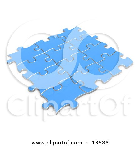 Clipart Illustration of Blue Puzzle Pieces Connected Together, Symbolizing Teamwork and Linking by 3poD