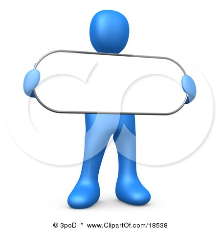 Clipart Illustration of a Blue Person Holding a Blank White Oval Sign by 3poD