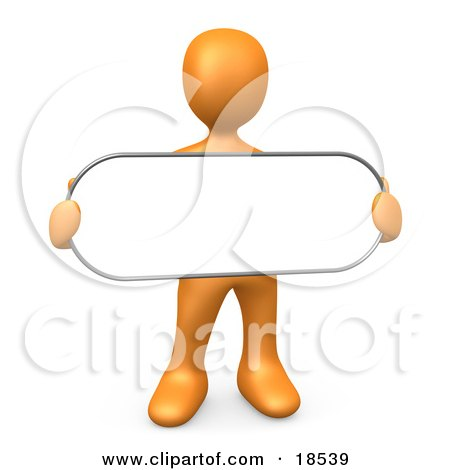 Clipart Illustration of an Orange Person Holding a Blank White Oval Sign by 3poD