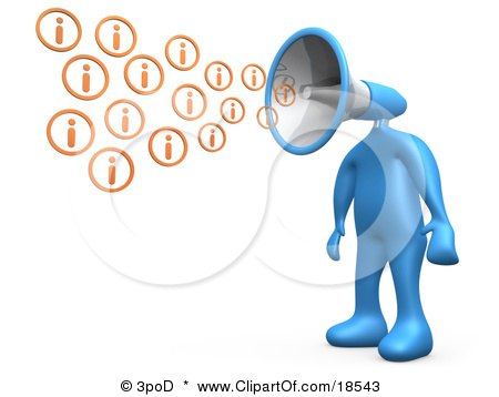 Clipart Illustration of a Blue Person With A Megaphone Head, Blowing Out Information Icons by 3poD