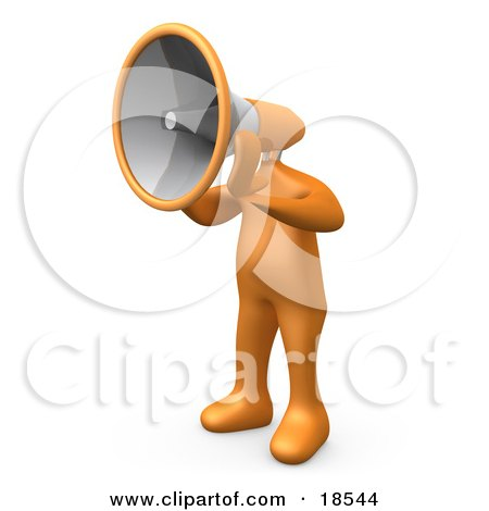 Clipart Illustration of an Orange Man With A Megaphone As A Head, Symbolizing Announcements Or Someone Trying To Make A Stand by 3poD