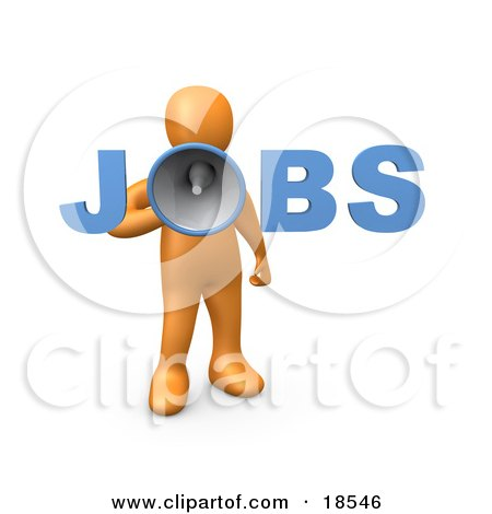Clipart Illustration of an Orange Person Speaking Through A Megaphone With The Word Jobs, Recruiting People For Occupations by 3poD