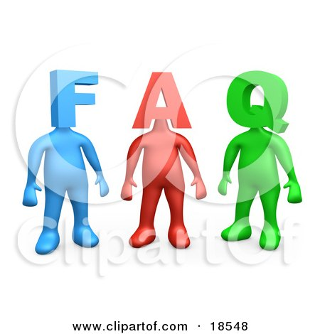 Clipart Illustration of Three Colorful People Figures, One Blue, One Red And One Green, With Heads In The Shape Of Letters, Reading FAQ by 3poD