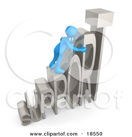 Clipart Illustration of a Blue Person Climbing And Adjusting Letters Reading SUPPORT, Symbolizing Customer Service by 3poD