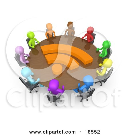 Clipart Illustration of a Diverse Group Of Business People Of Different Colors Including Blue, Purple, Light Blue, Green, Orange, Brown, Yellow And Red, Seated At A Round Conference Table With An Orange Rss Symbol On It During A Business Meeting In An Off by 3poD