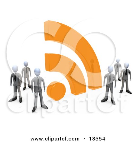 Clipart Illustration of a Group Of Businessmen In Matching Suits, Standing By A Large Orange RSS Symbol by 3poD