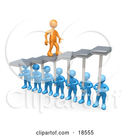Clipart Illustration of an Orange Man Walking Upwards On Steps That Are Held By Blue Men Below, Symbolizing Support, Trust And Achievement by 3poD