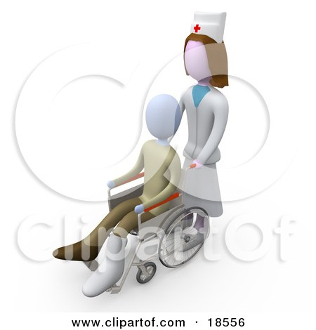 White Female Nurse Figure Pushing An Injured Blue Person With A Leg Cast In A Wheelchair In A Hospital Posters, Art Prints