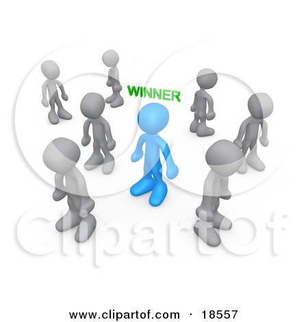 Clipart Illustration of a Blue Person With The Word Winner Over Their Head, Surrounded By Sad Losers by 3poD