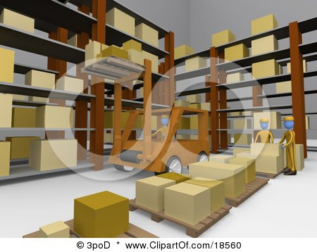 Clipart Illustration of a Forklift Operator Lifting Boxes Of Supplies Up High Into Shelves In A Warehouse As Two Other Workers Organize Boxes Onto Pallets by 3poD