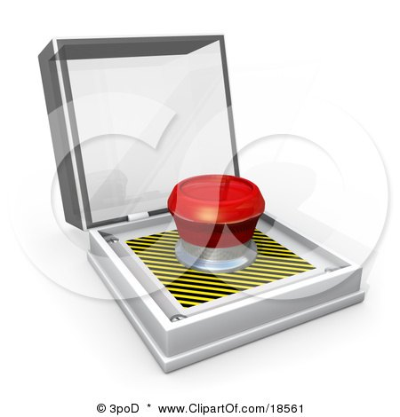 Clipart Illustration of a Big Red Panic Button In An Open Display, Symbolizing Panic Attacks And Stress by 3poD