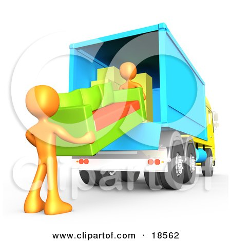 Clipart Illustration of Two Orange Male Figures Lifting And Loading A Green And Orange Living Room Couch Into A Blue Moving Truck, Symbolizing Teamwork by 3poD
