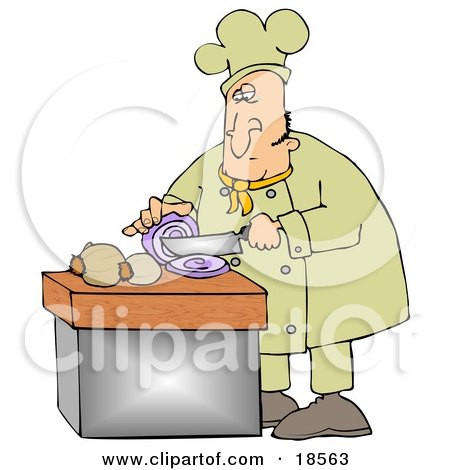 Clipart Illustration Of A White Male Chef Crying While Slicing Purple Onions