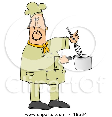 Clipart Illustration of a White Male Chef Stirring Food in a Pot With a Whisk by djart
