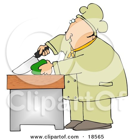 White Male Chef Carefully Slicing a Green Bell Pepper Posters, Art Prints