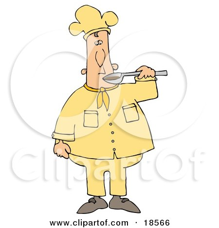 Clipart Illustration of a White Male Chef Preparing to Taste Food From a Spoon by Dennis Cox