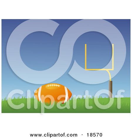 Clipart Illustration Of A Brown Leather American Football Resting On Grass With A Goal Post In The Background