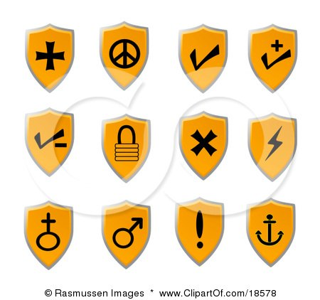Clipart Illustration of an Orange Shield Icon Set With Black Icons Of Various Popular Signs And Symbols For Web Design by Rasmussen Images
