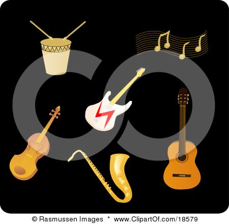 Clipart Illustration of a Set Of Drums, Music Notes, An Electric Guitar, Violin, Saxophone And Acoustic Guitar by Rasmussen Images