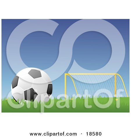 Clipart Illustration of a Black And White Soccer Ball/football Resting In Grass Near A Goal Post On A Soccer Field by Rasmussen Images