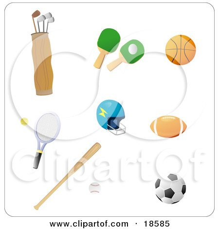 Clipart Illustration of a Set of Athletic Gear Including Golf Clubs, Ping Pong Paddles, a Basketball, Tennis Racket, Helmet, Football, Baseball and Bat and Soccer Ball by Rasmussen Images