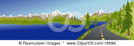 Clipart Illustration of a Curving Mountain Road Meandering Along A Lake Shore And Heading Twoards Snow Capped Mountains In The Summertime by Rasmussen Images