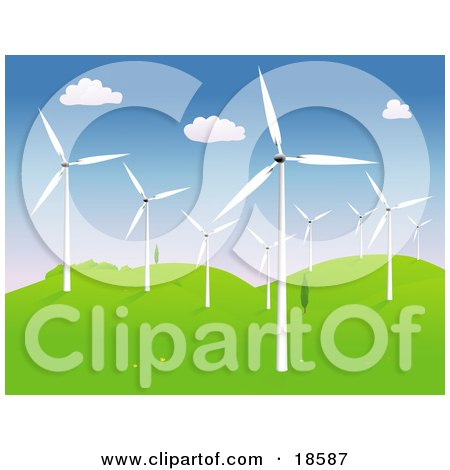 Clipart Illustration of a Group of Modern Wind Turbines or Windmills on a Hilly Landscape by Rasmussen Images