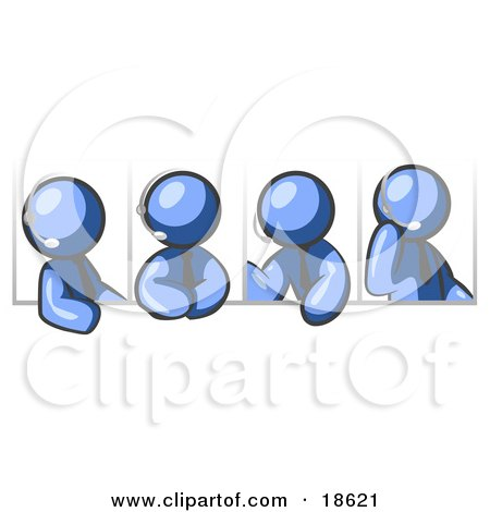 Clipart Illustration of Four Different Blue Men Wearing Headsets And Having A Discussion During A Phone Meeting by Leo Blanchette