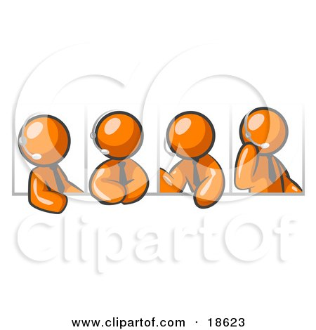 Four Different Orange Men Wearing Headsets And Having A Discussion During A Phone Meeting Posters, Art Prints