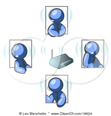 Clipart Illustration of Blue Men Holding A Phone Meeting And Wearing Wireless Headsets by Leo Blanchette