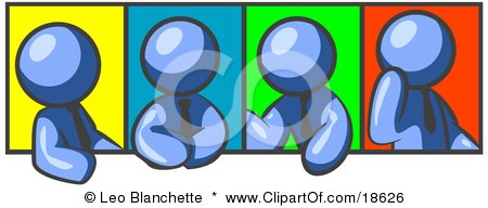 Clipart Illustration of Four Blue Men In Different Poses Against Colorful Backgrounds, Perhaps During A Meeting by Leo Blanchette