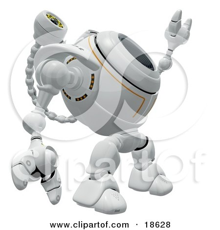 Clipart Illustration of a Robotic Cam Pointing And Looking Upwards, Detecting Spyware by Leo Blanchette