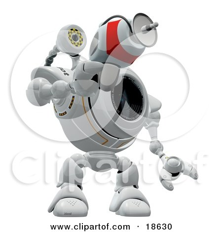 Clipart Illustration of a Robotic Cam Holding And Pointing A Laser Gun, Defending And Protecting Against Spyware by Leo Blanchette